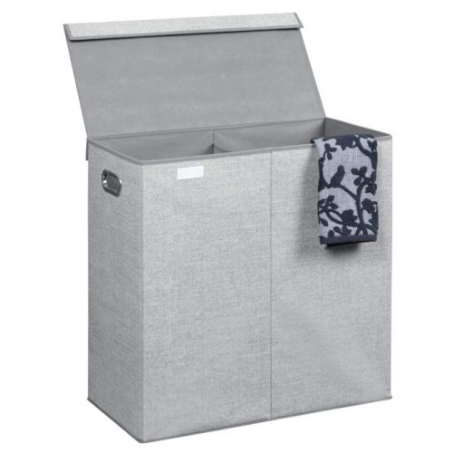 InterDign Aldo Folding Laundry Clothes Double Hamper/Sorter with Handles and Lid - 2 Bins, Gray