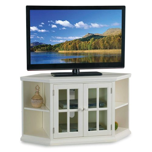 """Leick Riley Holliday 46"""" Corner TV Stand with Bookcases in White"""