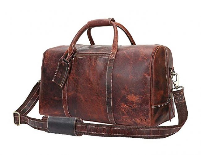 Leather Travel Duffel Bag - Airplane Underseat Carry On Bags By Rustic Town