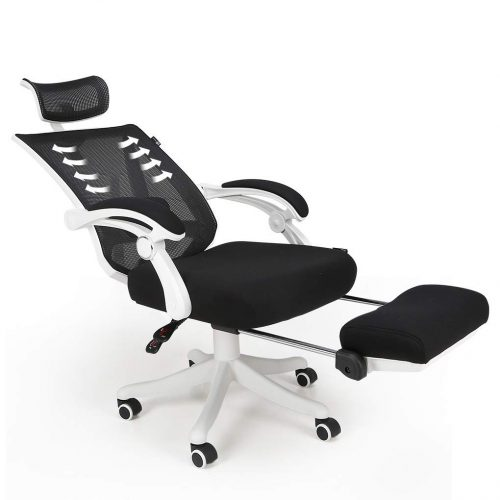 Hbada Reclining Office Desk Chair   Adjustable High Back Ergonomic Computer Mesh Recliner   White Home Office Chairs with Footrest and Lumbar Support
