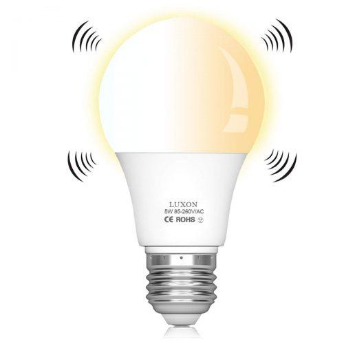 Motion Sensor Light Bulbs Dusk to Dawn 5W (50W equivalent) Radar Motion LED Bulb E26 Base 2700K Auto On/Off Soft White Night Light for Garage Basement Stair Porch by LUXON
