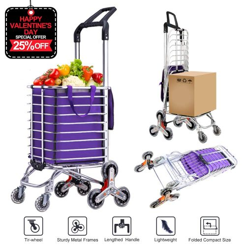 AmnoAmno Folding Shopping Cart-Stair Climbing Cart- Transit Utility Cart-Durable Folding Design for Easy Storage (Medium)