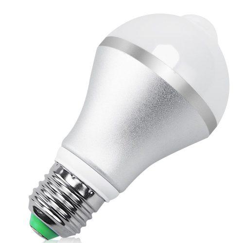 QPAU E27 7W 14 LED Light Bulb with PIR Motion Sensor, Warm White