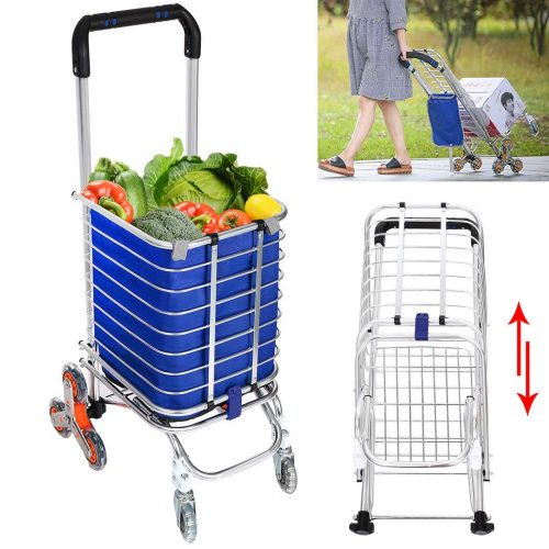 Utility Shopping Cart Collapsible Grocery Carts with Rolling Swivel Wheels for Stairs, 177 Pounds Capacity (US Stock)