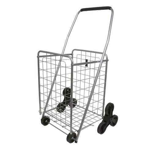 Helping Hand Deluxe Stair Climber Cart in Silver | Folding Cart Holds Up to 60 lbs - Great for Shopping, Camping, Sports Events, & Much More