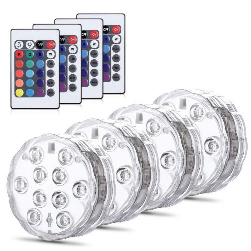 ZOTO Underwater Light, Submersible LED Lights, Waterproof RGB Pond Light Remote Control, Battery Powered Water Decoration Lights Fish Bowl, Swimming Pool, Wedding, Party, Vase Base,4 Pack