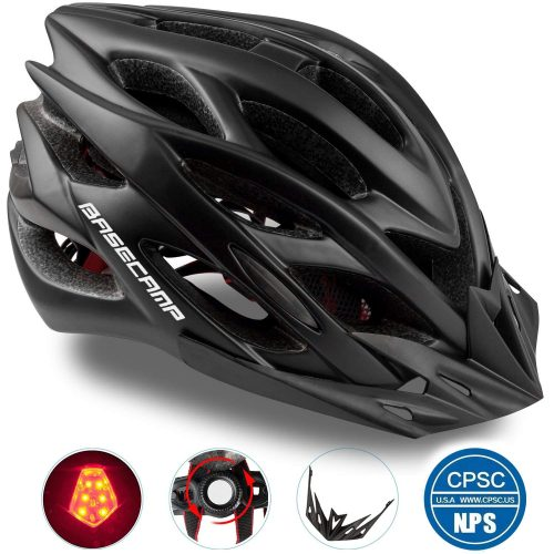 Basecamp Specialized Bike Helmet with Safety Light, CPSC Certified, Adjustable Sports Cycling Helmet Bicycle Helmets for Road & Mountain for Men & Women, Safety Protection