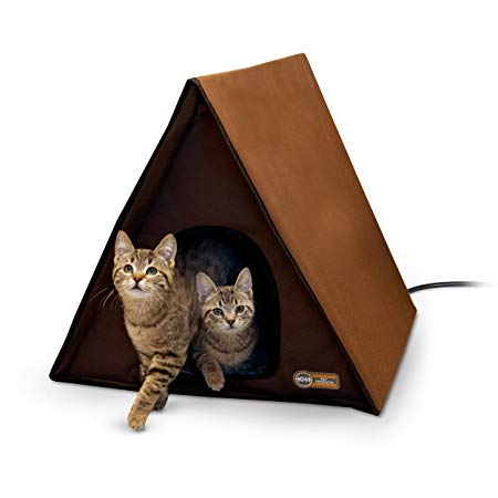 """K&H Pet Products Outdoor Multi-Kitty A-Frame - Chocolate 35"""" X 20.5"""" X 20"""" (Heated or Unheated)"""