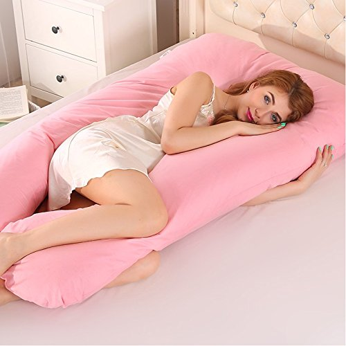 Crystaller Comfort U Body Pillow Back Support Nursing Maternity Pregnancy Pillow Pregnant Pillow with FREE Removable Cover - Full Body Pregnancy Pillow & Maternity Pillow(Pink)