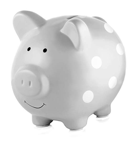 Pearhead Ceramic Piggy Bank, Makes a Perfect and Unique Gift for Your Modern Baby or a Modern Nursery, Gray With White Polka Dots
