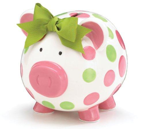Burton & Burton Girls Pink & Green Circles Pig Piggy Bank Green Bow Ceramic Personalized Baby Nursery Décor