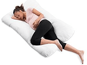 ComfySure Pregnancy Full Body Pillow-U Shaped Maternity and Nursing Cushion with Removable White Cover-Back, Neck Hip Support, and Relief-Firm and Plush