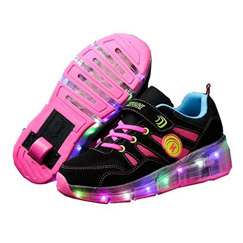 Fantasy CPS LED Fashion Sneakers Kids Girls Boys Light Up Wheels Skate Shoes Comfortable Mesh Surface Roller Shoes Thanksgiving Christmas Day Best Gift