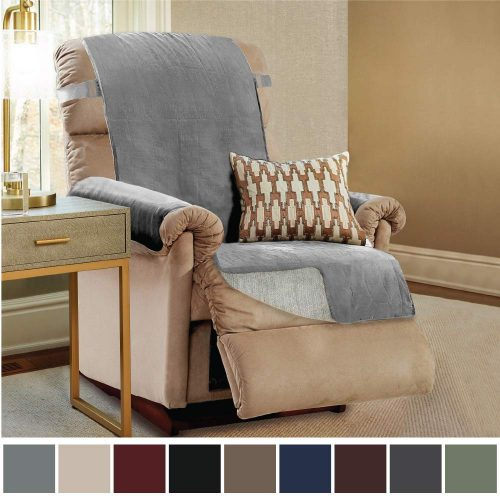 """Gorilla Grip Original Slip Resistant Recliner Slipcover Protector, Seat Width Up to 26"""" Suede-Like, Patent Pending, 2"""" Straps/Hook, Furniture Cover for Kids, Dogs, Cats, Pets (Recliner: Charcoal)"""