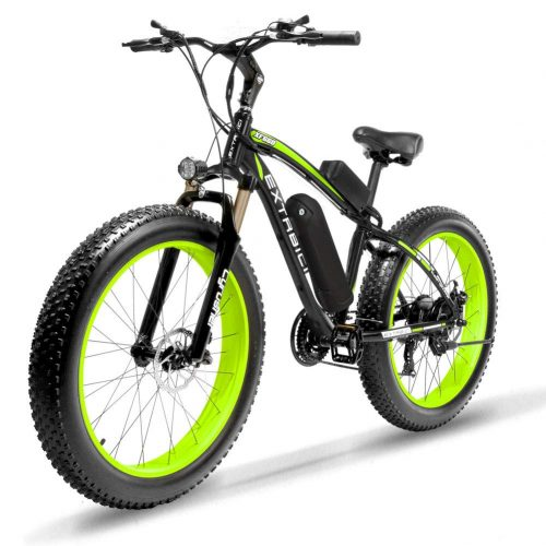Cyrusher Fat Tire Bike Snow Bike Mountain Bike with Motor 500W 48V Lithium Battery Extrbici XF660 Shimano 7 Speeds System 4.0 inch Fat Tire Suspension Fork Dual Disc Brakes New Adjustable Handlebar | Electric Mountain Bikes