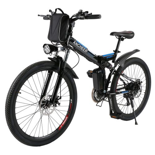 ANCHEER Folding Electric Mountain Bike with 26 Inch Wheel, Large Capacity Lithium-Ion Battery (36V 250W), Premium Full Suspension and Shimano GearANCHEER Folding Electric Mountain Bike with 26 Inch Wheel, Large Capacity Lithium-Ion Battery (36V 250W), Premium Full Suspension and Shimano Gear