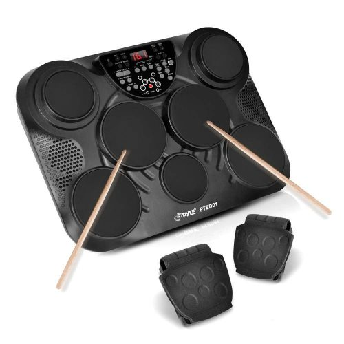 PylePro Portable Drums, Tabletop Drum Set, 7 Pad Digital Drum Kit, Touch Sensitivity, Wireless Electric Drums, Drum Machine, Electric Drum Pads, LED Display, Mac & PC (PTED01)