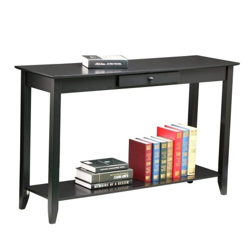 Yaheetech 2 Tiers Concepts Wood Console Table with Drawer and Shelf Living Room Entryway Furniture, Black