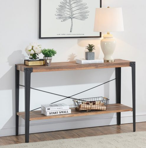 O&K Furniture Industrial Rustic 2-Tier Occasional Console Sofa Table for Living Room & Entryway, Brown Finish(1-Pcs)