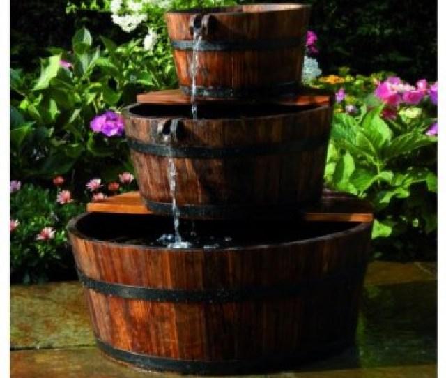 Garden Cascade Set 3 Wooden Barrels Ubbink