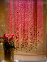 Pink beaded curtain