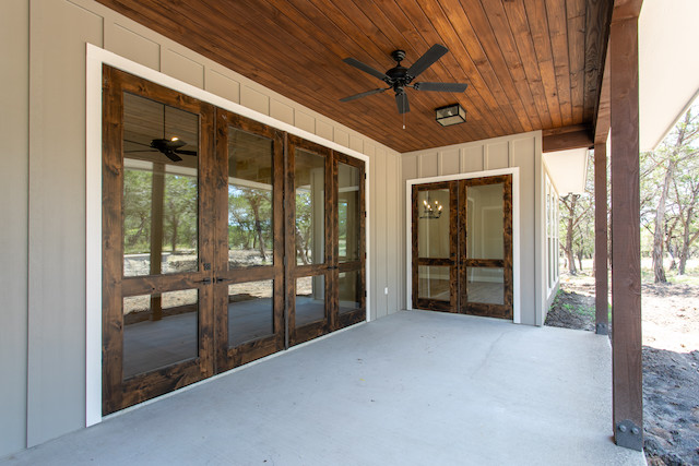 Custom home with alder doors