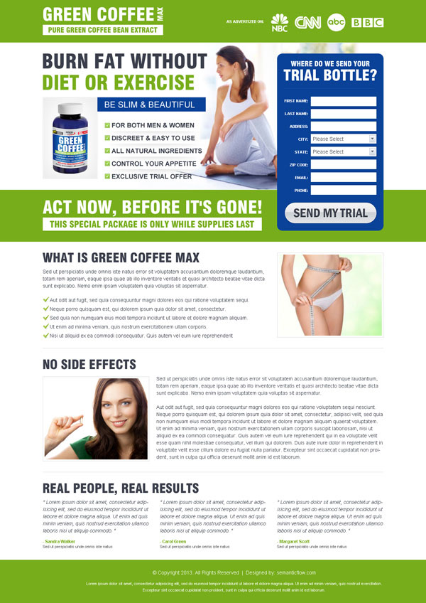 High quality professional green coffee weight loss landing page design to sell your weight loss product from http://www.semanticlp.com/buy-now1.php?p=793
