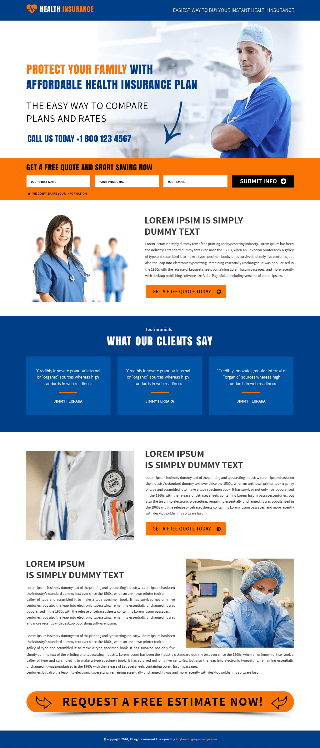 Best Responsive Health Insurance Template - Buy Landing Pages Design