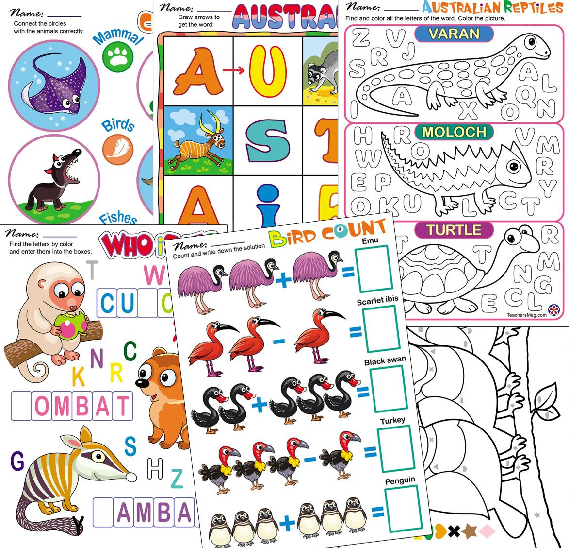 Animal Worksheets Australia Asia Desert Buylapbook