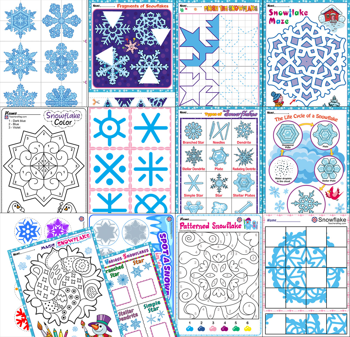 Snowflakes Theme Printables Buylapbook