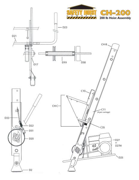 Safety Hoist CH200 200lb. Ladder Hoist from BuyMBS.com