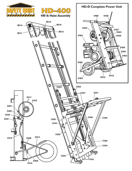 Safety Hoist HD400 400lb. Steel Based Ladder Hoist from