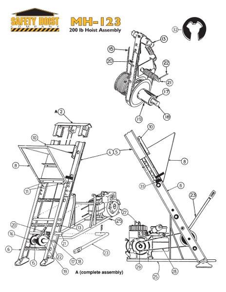 Safety Hoist MH123 200lb. Ladder Hoist from BuyMBS.com