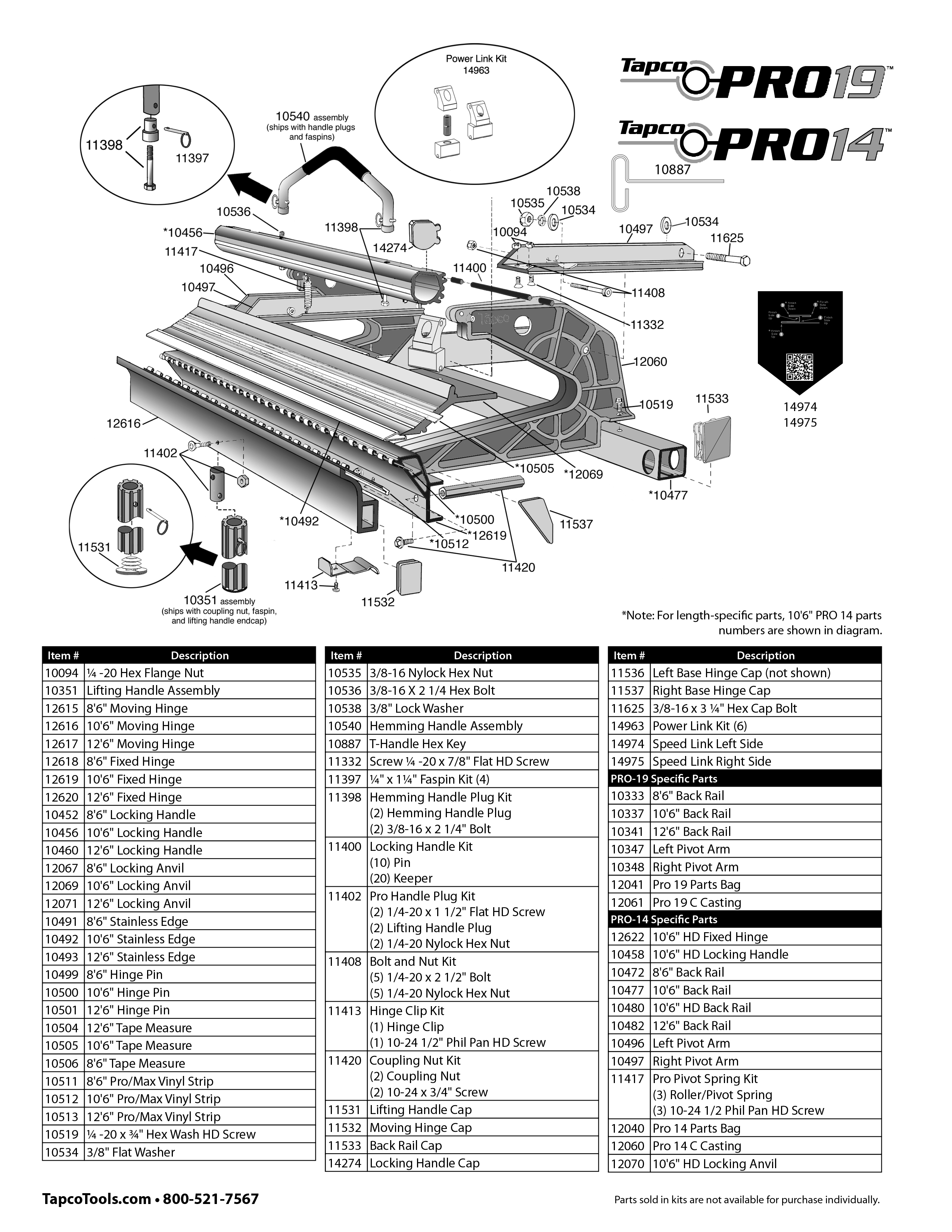 Tapco Pro 14 Replacement Parts From Buymbs