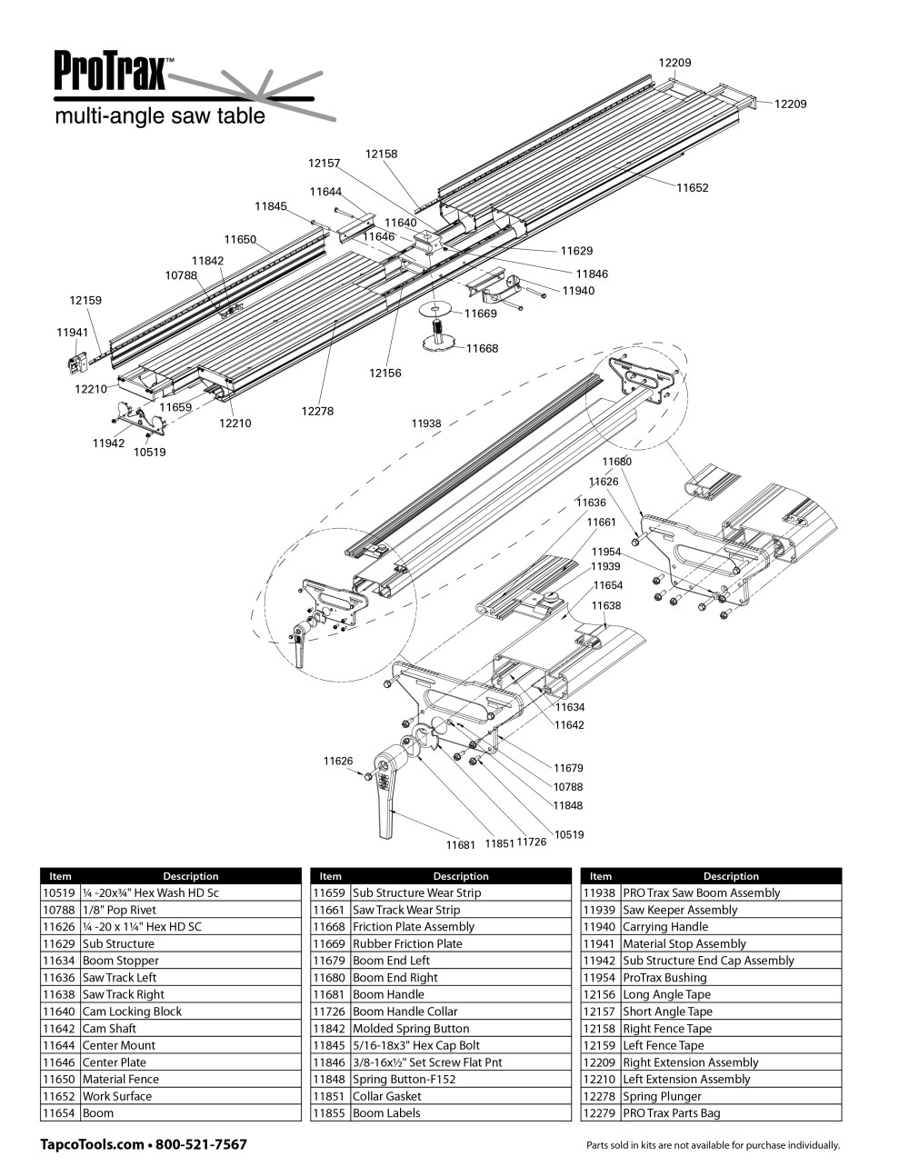 medium resolution of expanded protrax parts list