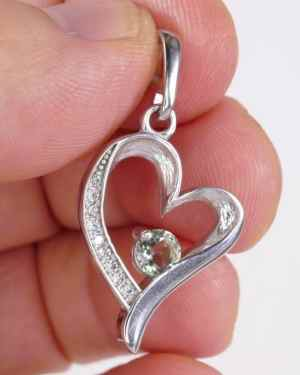 Heart Shape Faceted Moldavite Pendant With Cubic Zirconia (4.0grams)