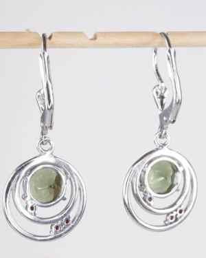 Faceted Moldavite Round Cut Garnet Sterling Silver Earrings (3.4grams)