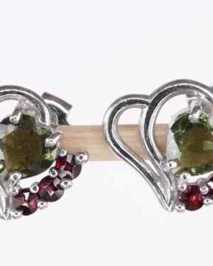 Faceted Moldavite Heart Sterling Silver Earrings With Garnets (1.9grams)