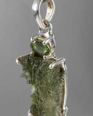 Faceted Moldavite Fine Shape Raw Sterling Silver Pendant (5.4grams)