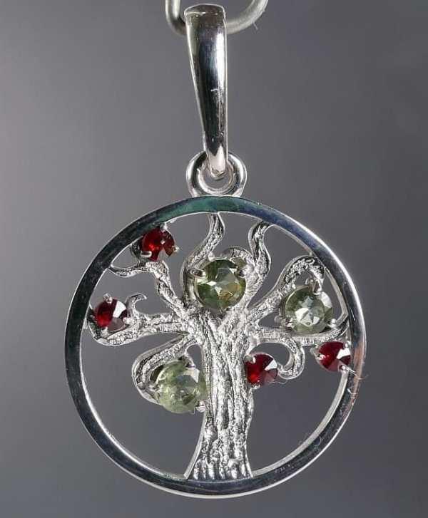 Faceted Moldavite, Tree of Life Garnet Silver Pendant (3.1grams)