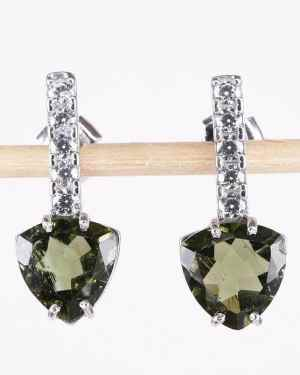 Faceted Moldavite Sterling Silver Earrings With Cubic Zirconia (3.1grams)