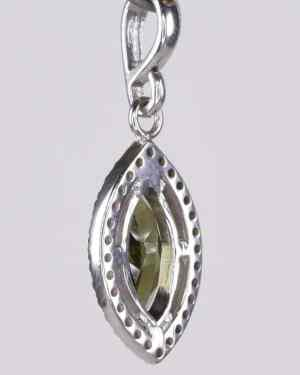 Marquise Cut Faceted Moldavite Sterling Silver Pendant (2.3 gram)