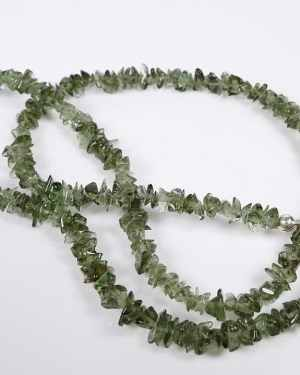 Moldavite tumbled chip necklace silver 925 (10.2gram)
