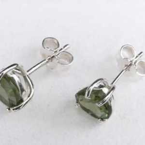 Faceted Moldavite Heart Cut Stud Earrings (1.0grams)