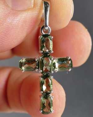 moldavite cross pendant
