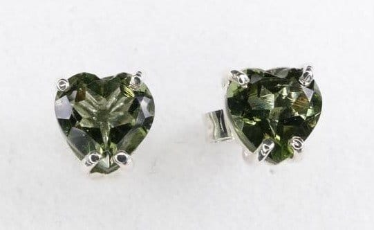 Heart Shape Moldavite Stud Earrings
