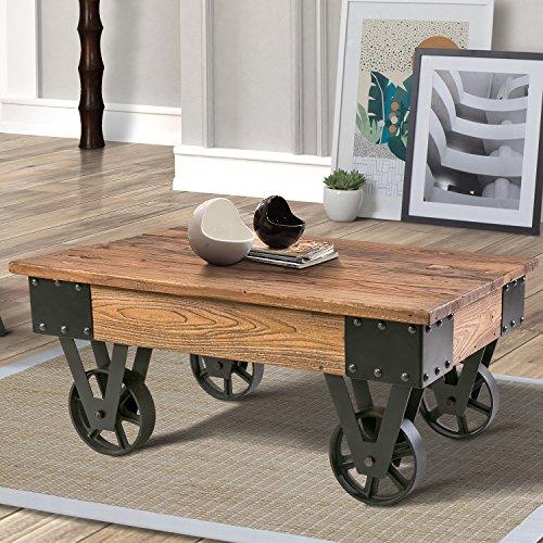 harper bright designs solid wood coffee metal wheels end table living room set rustic brown