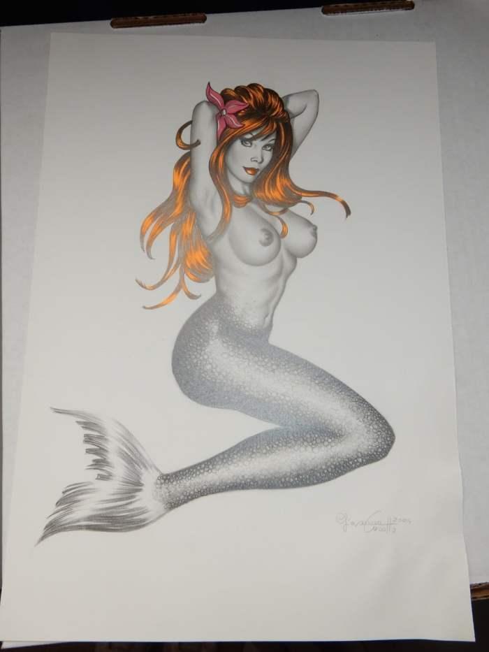 Sexy Original Art - Nude Mermaid by Giovanna Casotto