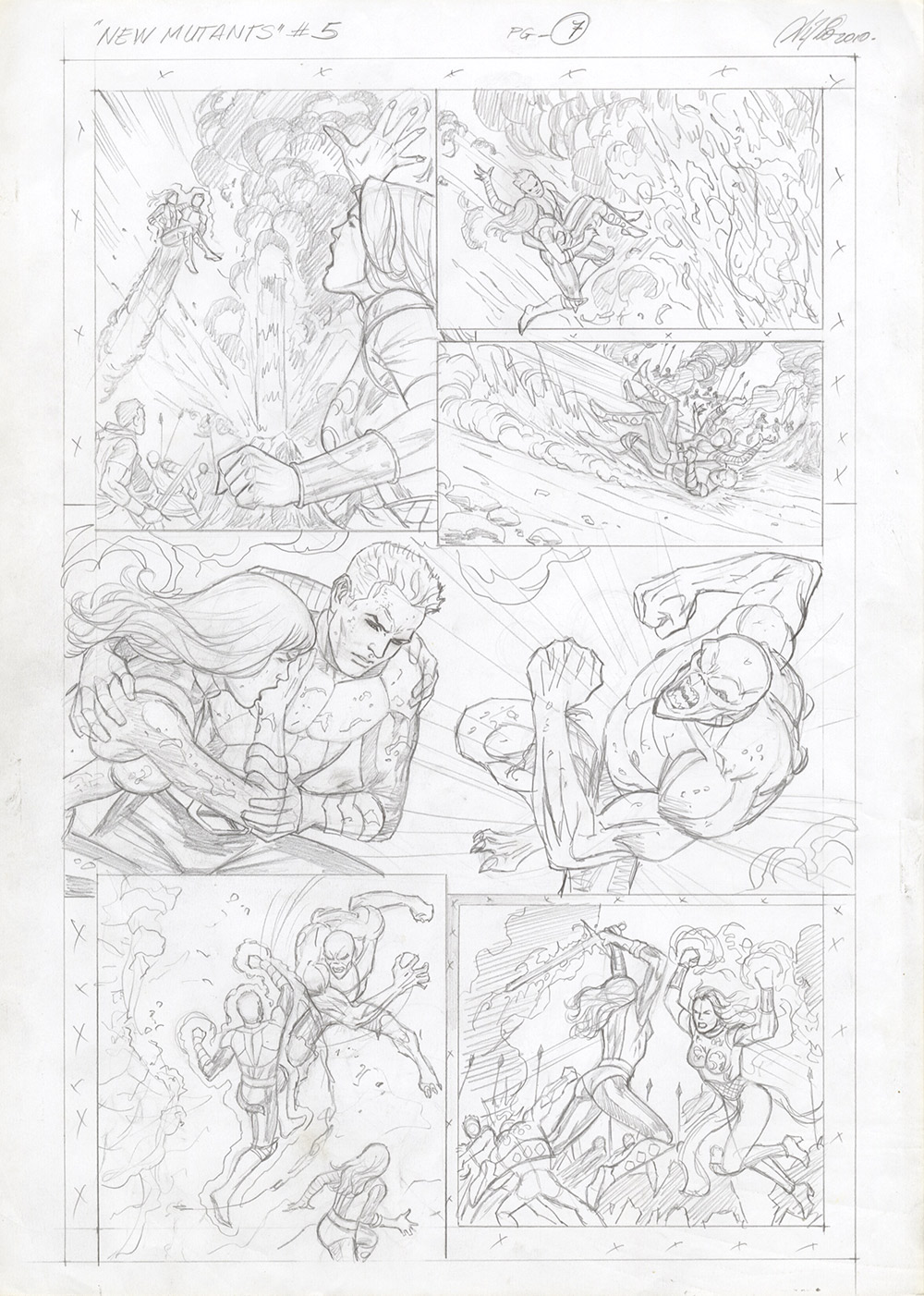 New Mutants #5, Page 7 - Original Comic Art prelim page by Al Rio
