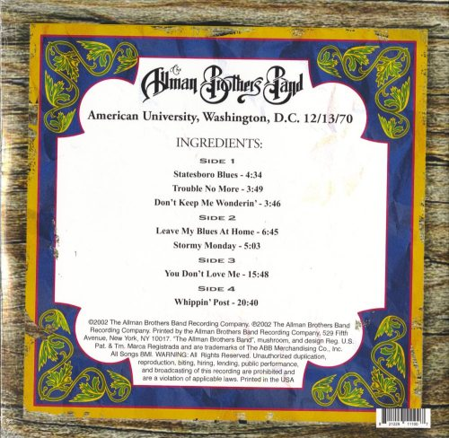 The Allman Brothers Band - American University Washington D.C.12-13-70, Double Vinyl, Reissue, 2019